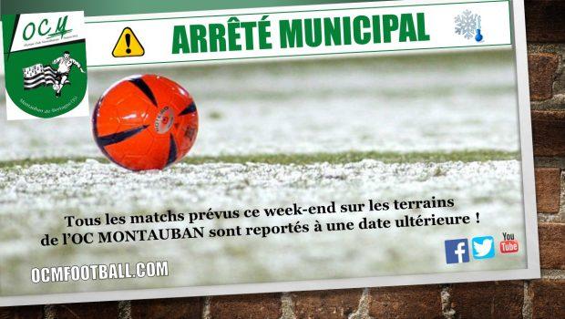 Tous les matchs prévus ce week-end sur les terrains de l'OC MONTAUBAN sont reportés à une date ultérieure (gel important des terrains)! Voici les matchs concernés : U13 A (D2) […]